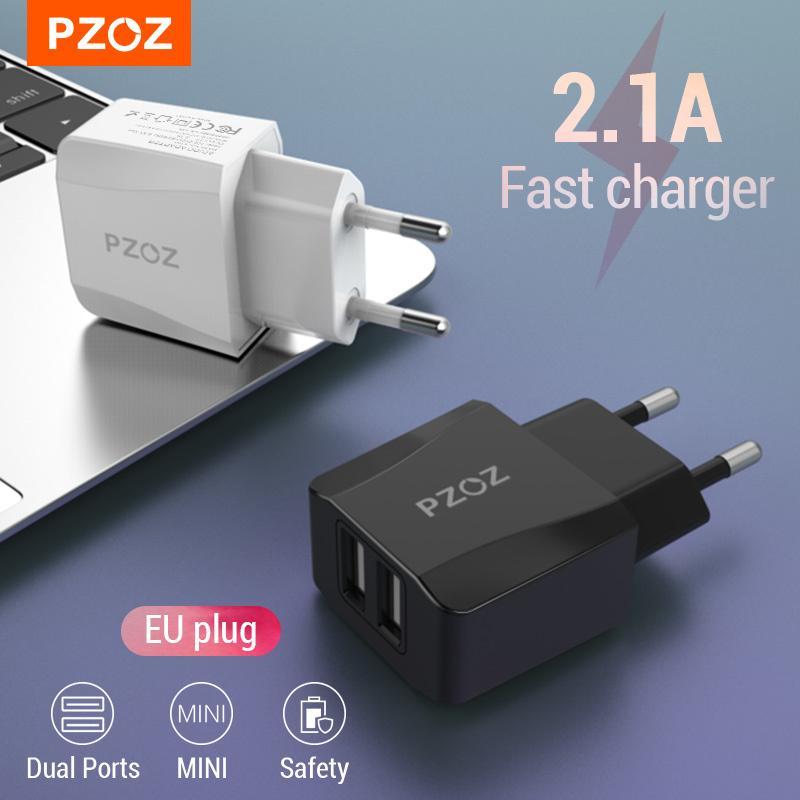 PZOZ USB 충전기 여행 EU 플러그 2A 빠른 충전 어댑터 휴대용 듀얼 벽 충전기 iPhone에 대 한 휴대 전화 케이블 삼성 Xiaomi