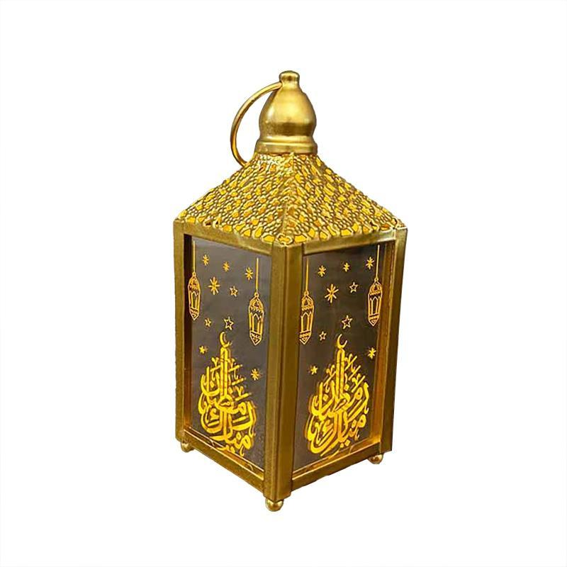 Top Selling Ramadan Lantern Led Hanging Lanterns Decoration Lights Holiday Lighting Wrought Iron Night Light Mats & Pads