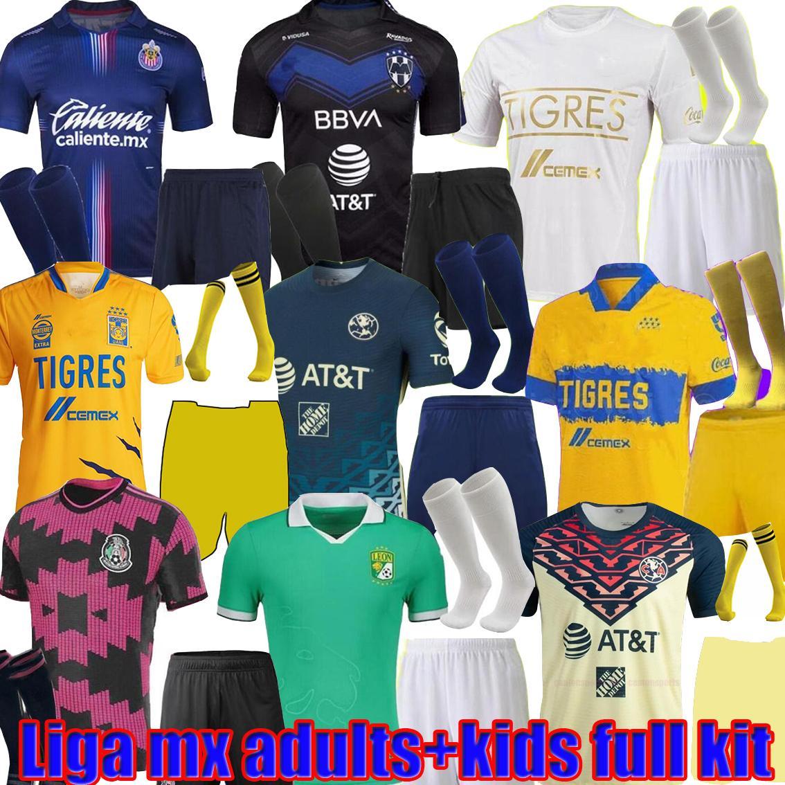LIGA MX Toutes les adultes adultes Kids Kit complet 22 Club America Soccer Jerseys Leon Troisième 2021 2022 Mexique Léon Tijuana Tigres Unam Chivas Guadalajara Cruz Azul Chemises de football
