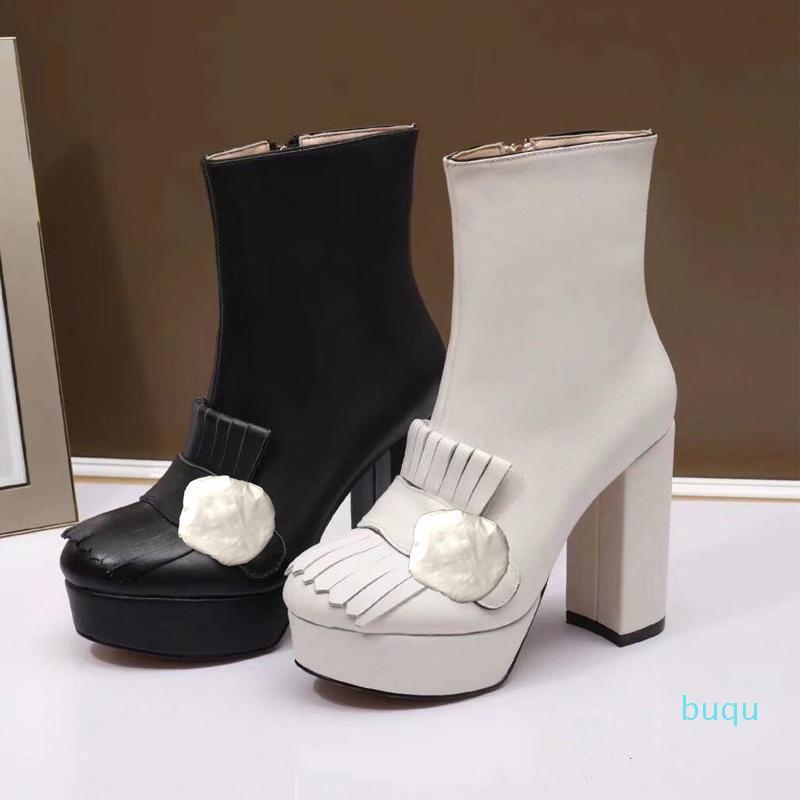 Tasarımcı-klasik inek derisi kısa çizmeler yüksek topuklu bayanlar moda kalın topuklu siyah çizmeler süper yüksek topuk çizmeler metal toka deri kadın sho