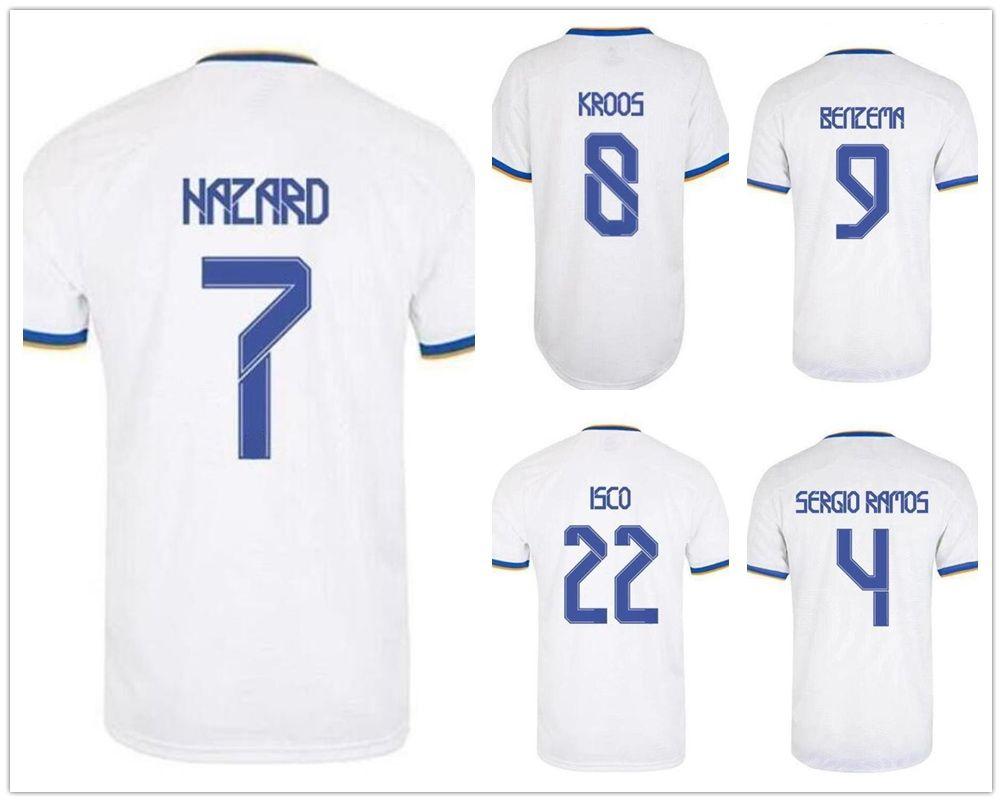 21-22 7 hazard Thai Quality Soccer Jerseys Shirts Customized 7 11 BALE 22 ISCO 4 SERGIO RAMOS 9 Benzema 26 Tomás 21 Mayoral wears