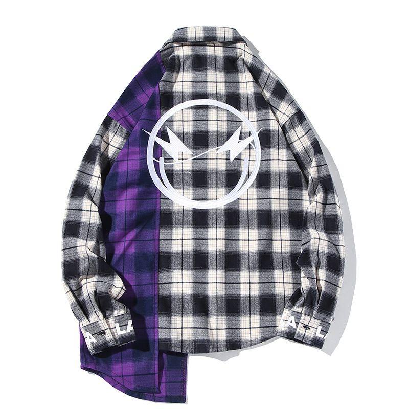 Herrenbekleidung Tops Langarm Hoodies Black and White Plaid Kontrast Unregelmäßige Nähte Stickerei Panda Loose Hemdjacke Gviy