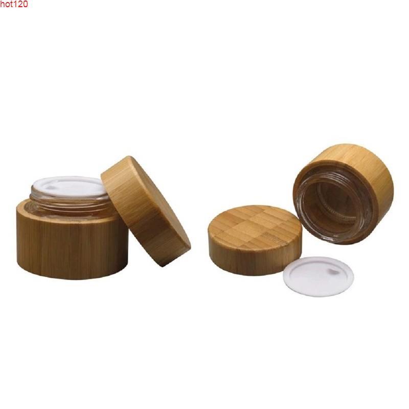 CBD Kenevir Yağı 1oz 1.7oz Bambu Kozmetik Vücut Tereyağı Kapları Yüz Losyonu Krem Jel Cam Liner Kavanoz Kapakları Cilt Caregoods