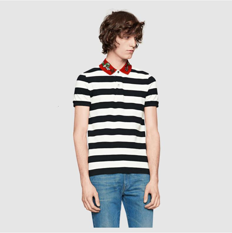 Marca Designer-Mens Polo Camiseta Bordado Camisetas Para Homens Itália Moda Poloshirt Camisa Homens High Street Serpente Cópia de Abelha Pequena Camisetas