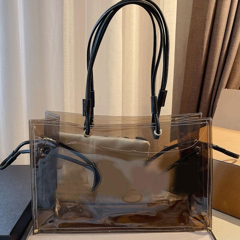 Transparent Shopping Bag Tote Clear Handbag PVC Jelly Shoulder Bags Fashion Letter Interior Pocket Wallets Lady Handbags