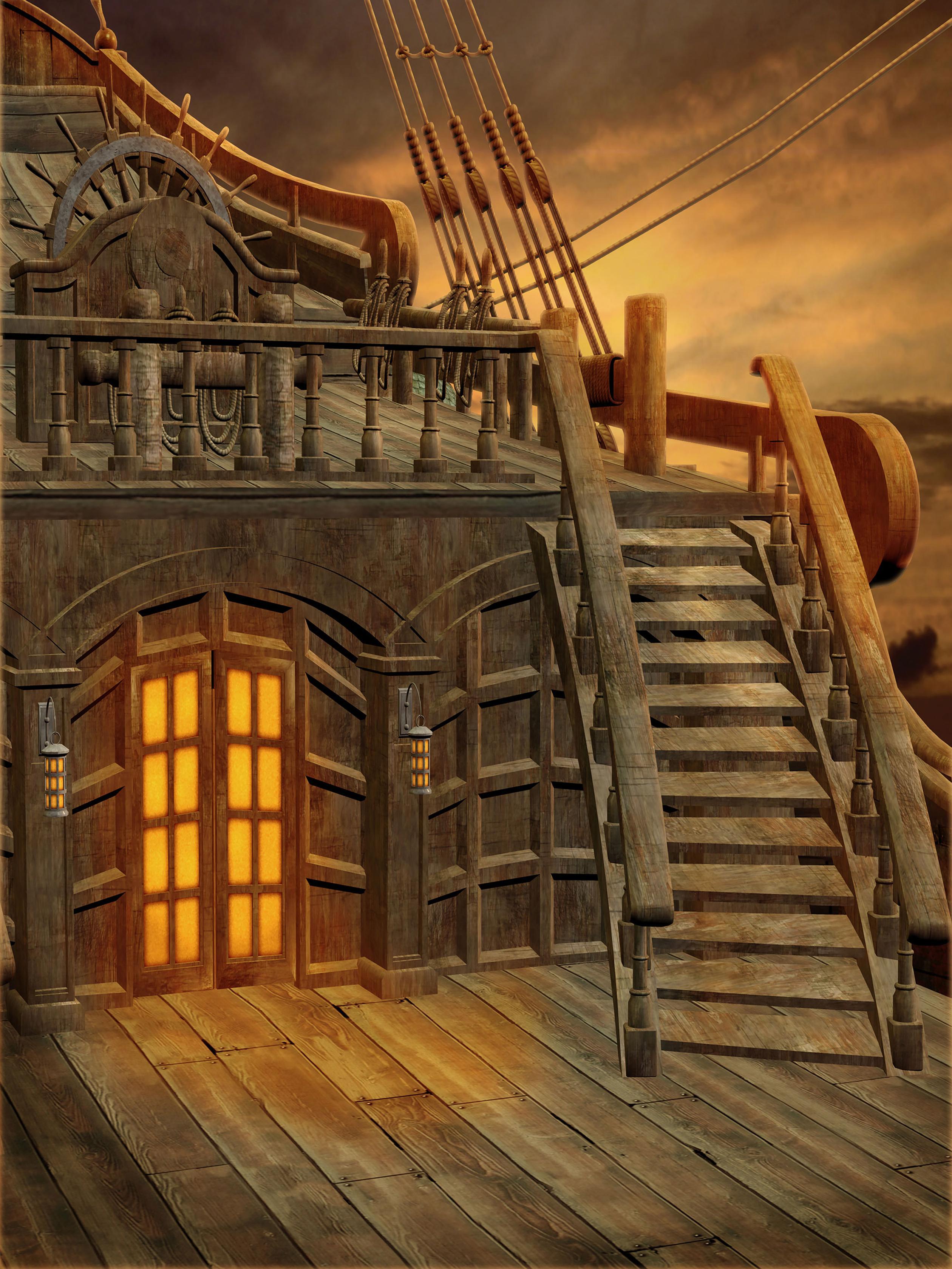 Пиратский корабль ландшафтный лестница виниловые фотографии фон новорожденных детские фото стенд детские фоны для детей вечеринки студии реквизиты