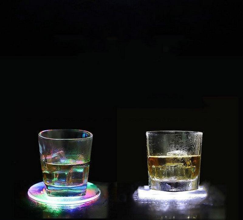 Paspaslar Pedleri Su Geçirmez 6 leds Ultra Ince Fincan Mat Işık-up Bira Şarap Cam İçme Şişe Aydınlık Ev Partisi Kulübü Dekor-Yuvarlak / Meydan
