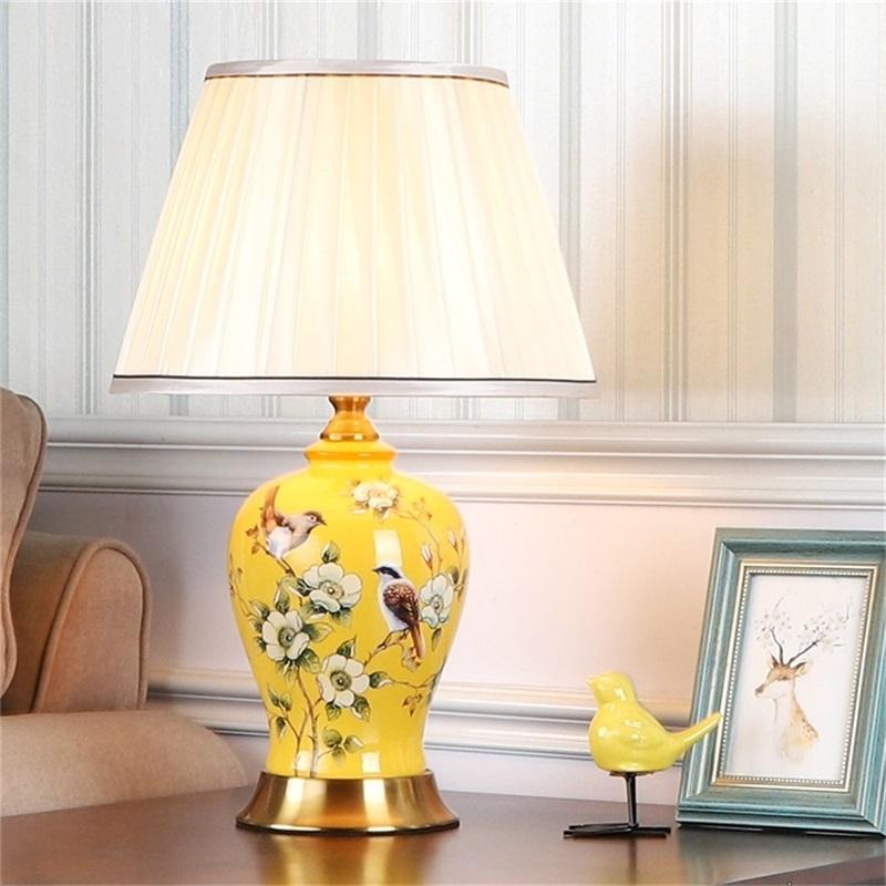 세라믹 테이블 램프 LED 데스크 라이트 럭셔리 홈 장식 침대 옆 거실 침실 식사