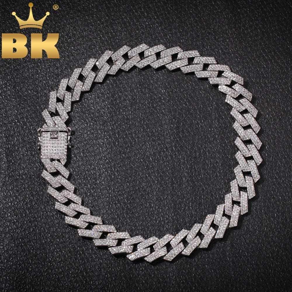 Der Bling King 20mm Prong Cuban Link Ketten Halskette Mode Hiphop Schmuck 3 Row Strasssteine Euro Out Halsketten für Männer T200113