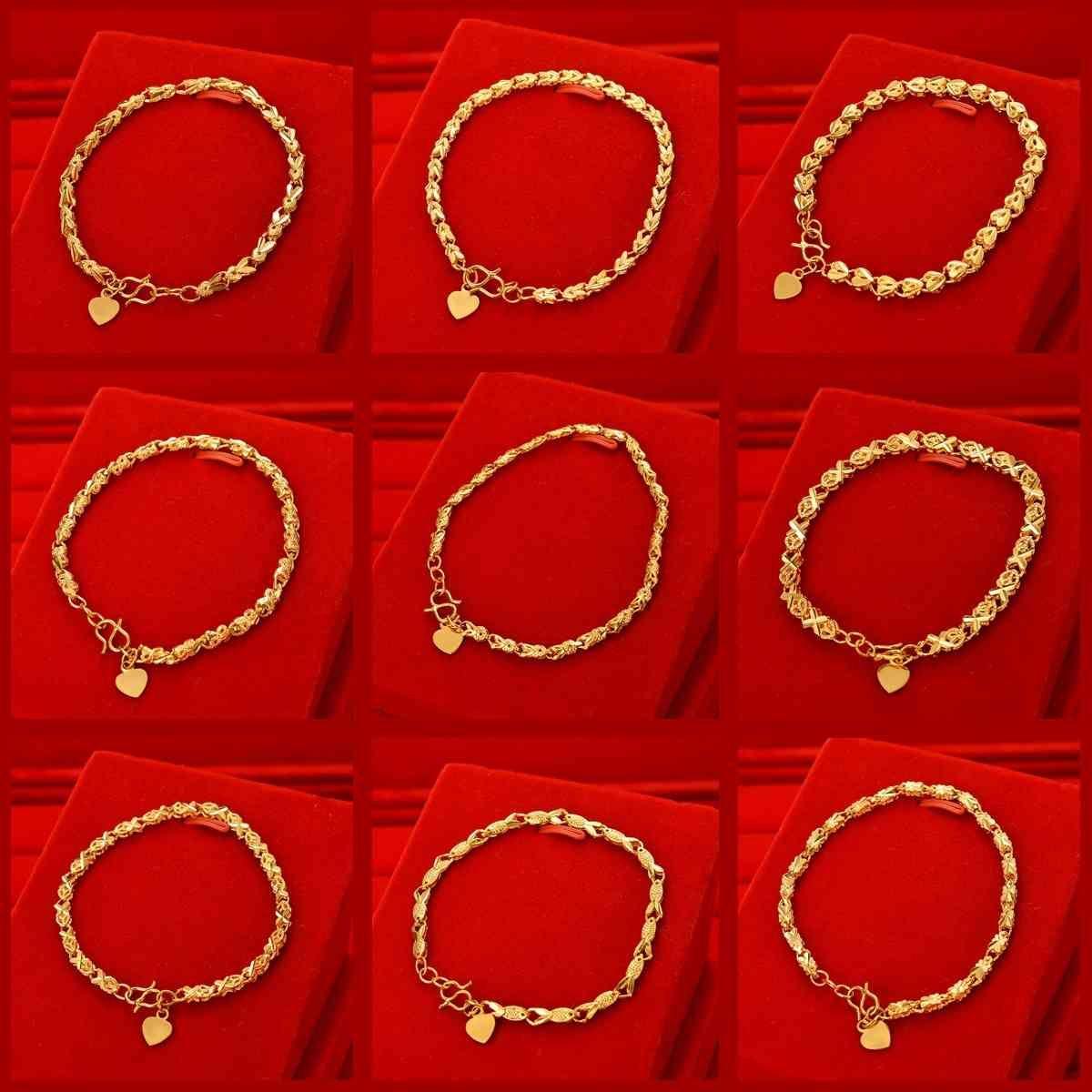 Enlace, cadena de imitación en vivo 24k Mesa de joyería para mujer Pequeño Pescado Decoración de mano Vietnam Sha Gold Flower Head BraceletXG1M