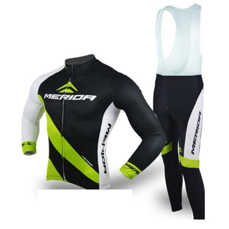 Team Merida Cycling Jersey Set Set da uomo Manica lunga MTB Sportwear Autunno Quick Dry Dry Outdoor Mountain Mountain Bike Abbigliamento H042011