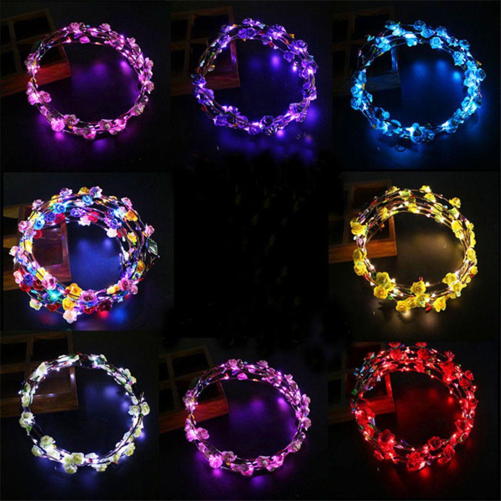 Leuchtende Blumenschließe LED POM Toys Kopf Reifen Fee Kopfbekleidung Leuchten Blume Krone Girlanden Haarbänder Hochzeit Geburtstag Weihnachten Party Applique C102901