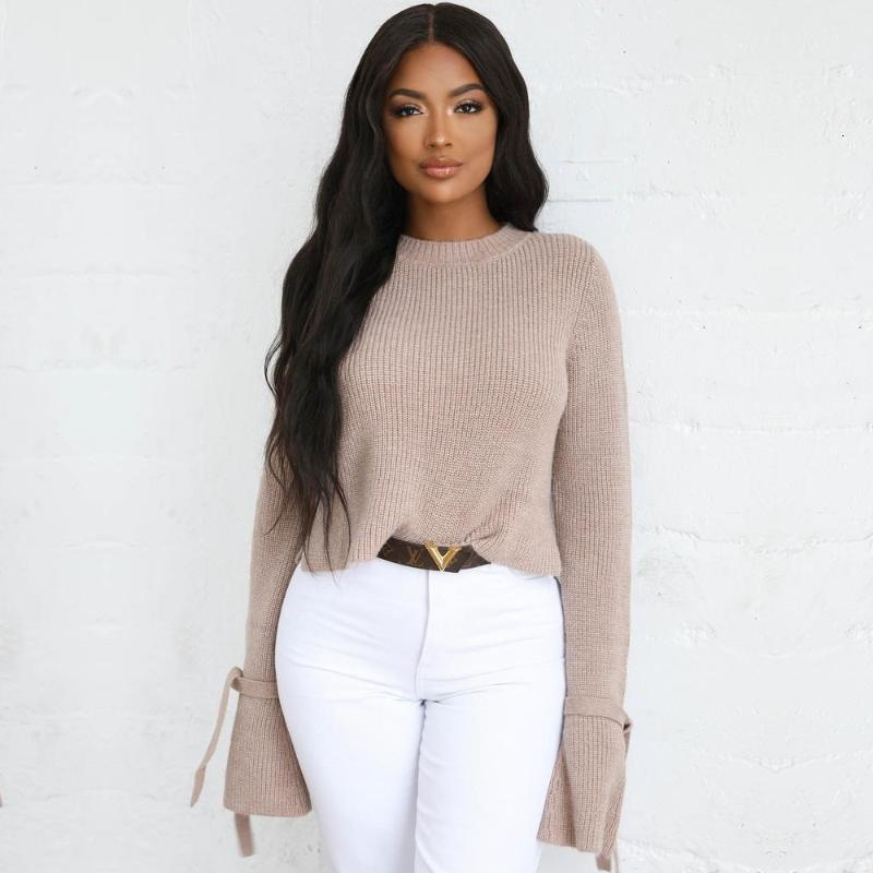 Frauen Casual Flare Sleeve Pullover Pullover Vollfarbige Fliege Langarm Stretch Slim Herbst Winter Neue Mode Damen Tops