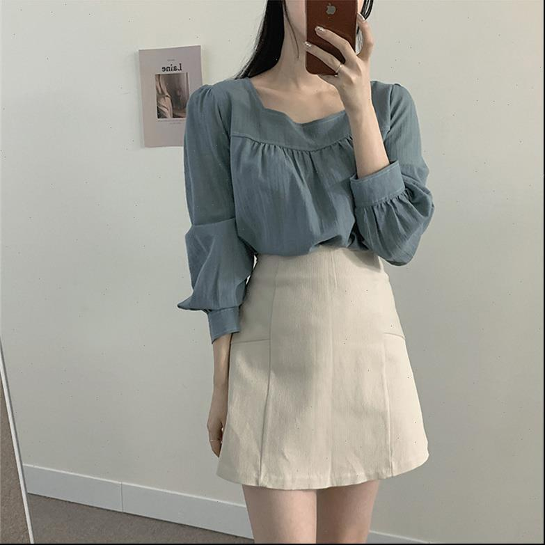 Girls Spring suits long sleeves Women Dress blouse Tops high waist A Line skirts two piece Sell separately oversize loose