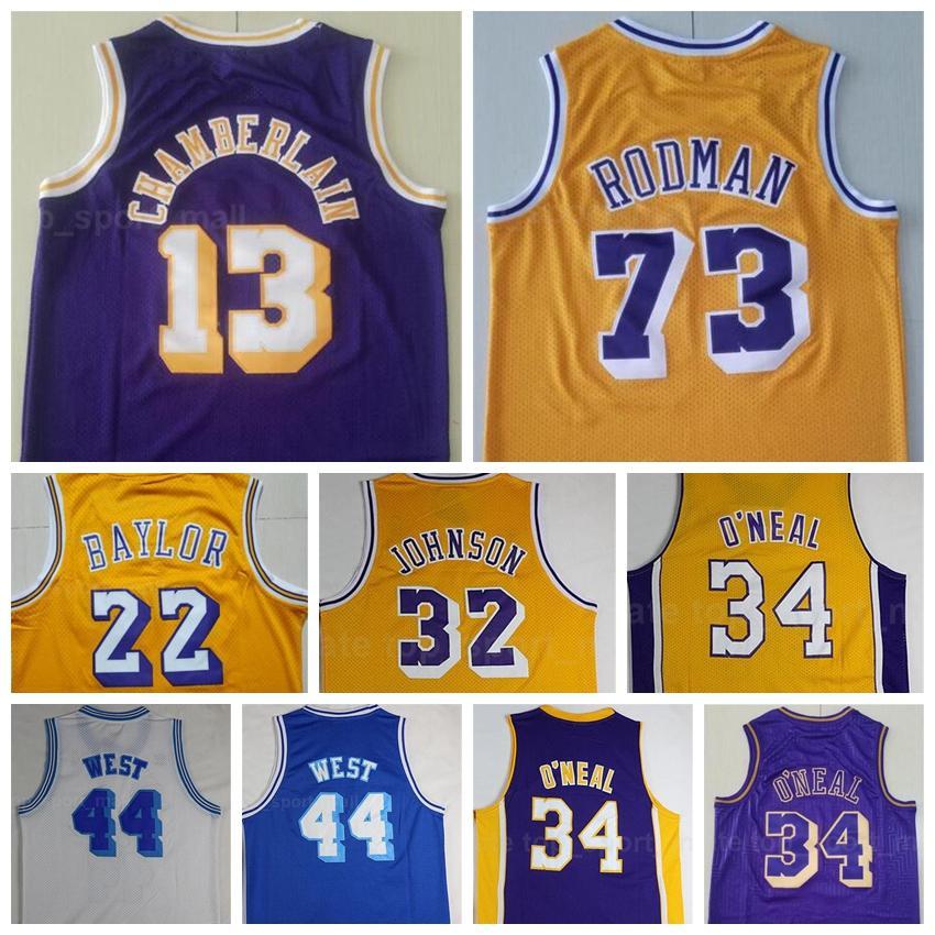 Homens Basquetebol Vintage Dennis Rodman Jersey 73 Wilt Chamberlain 13 Jerry West 44 Elgin Baylor 22 Roxo Amarelo Branco Tudo Costurado