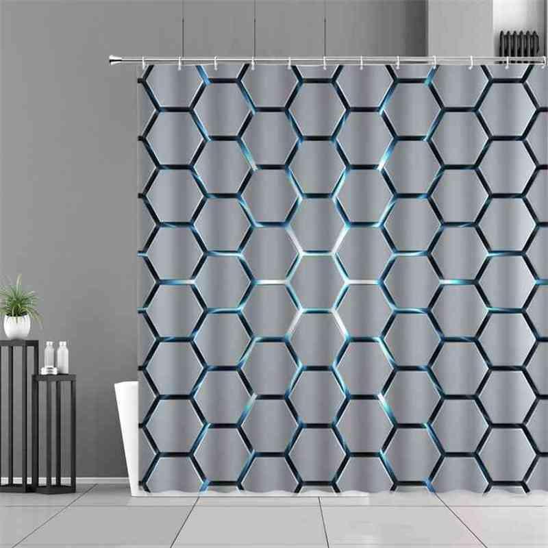 Moderne modèle géométrique Impression Rideau de douche Eau Cube Cube de salle de bains Décoration de fond étanche Polyester Tissu 210915