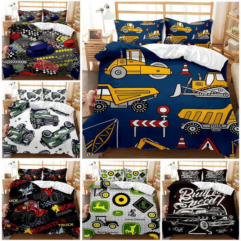 Conjuntos de ropa de cama Impresiones de vehículos de ingeniería Conjunto de tapa de edredón Monster Truck Quilt Queen King tamaño Edredón Casa Ropa de cama