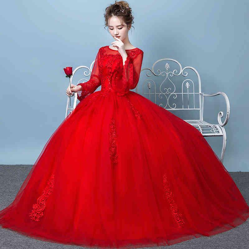 Kırmızı Elbise 2020 Stil Baltalar Gelin Uzun Kollu Lace Up Gelinlik Artı Boyutu Prenses Dressess Vestidos De Novia