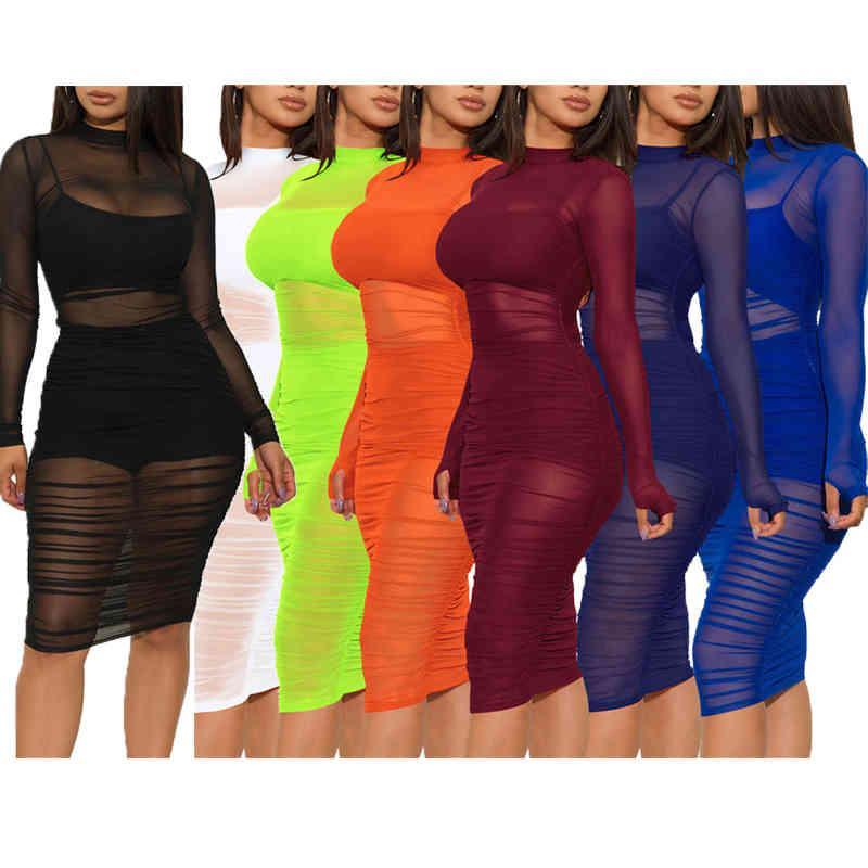 도매 여자 디자이너 드레스 섹시한 메쉬 3 조각 세트 높은 품질 드레스를 통해 봐 우아한 럭셔리 패션 스커트 무릎 길이 여성 의류 1503