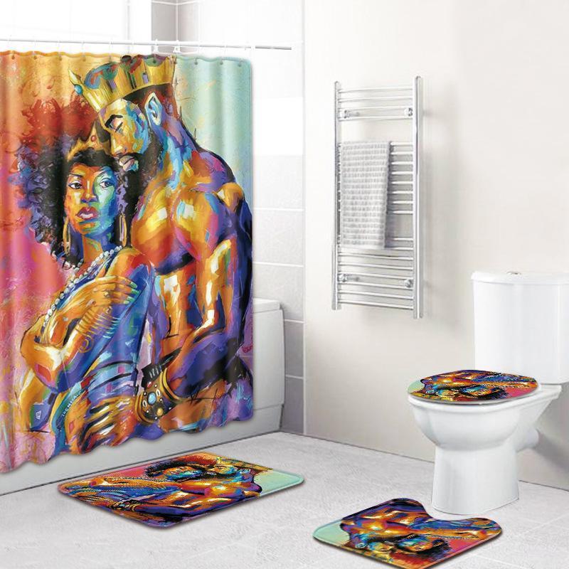 Carpets 4Pcs African Men Women Waterproof Shower Curtain Bathroom Non-Slip Rug Toilet Seat Cover Bath Mats Set Home Decor Accessories