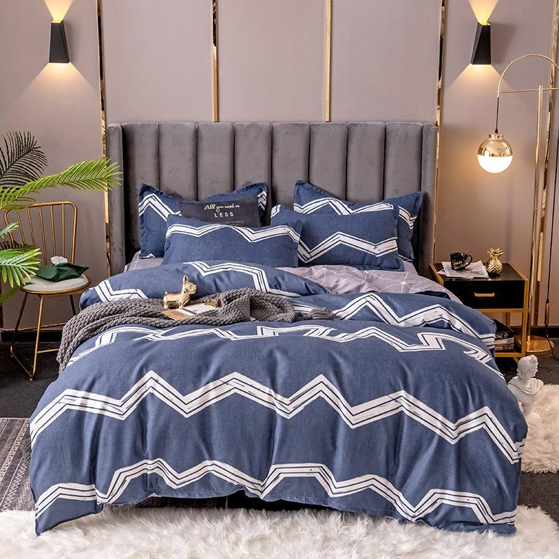 Four Piece Dormitory Bedding with Reactive Printing and Dyeing Stripe Pattern