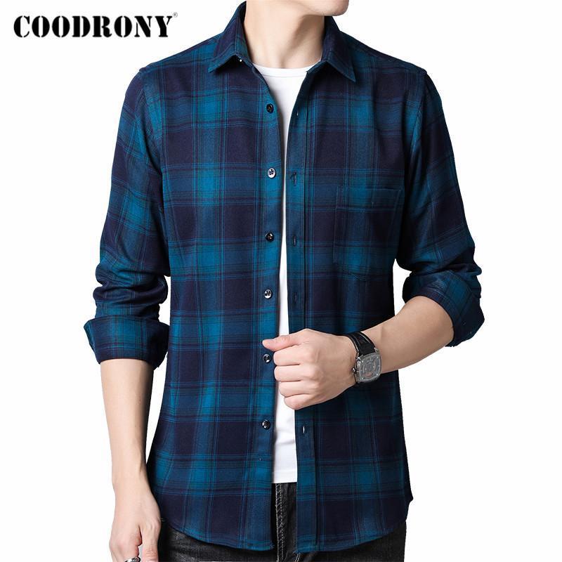 브랜드 봄 가을 도착 패션 큰 격자 무늬 100 % 순수한 면화 긴 소매 셔츠 남성 비즈니스 캐주얼 의류 C6177 남자 셔츠