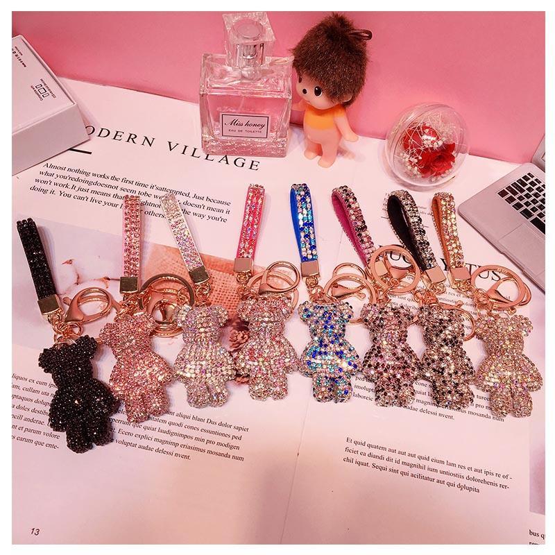 DIY Handwerk Cartoon Bär Strass Kristall Schlüsselanhänger Handmade PVC Keychain Charm Anhänger Schlüsselanhänger Für Frauen Geschenke