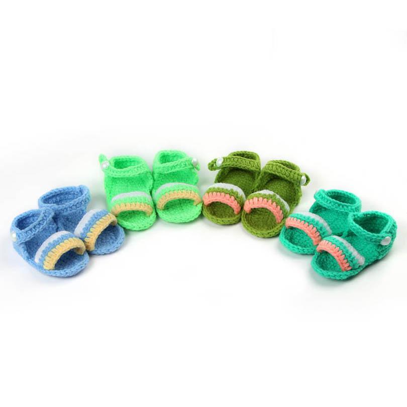 طفل أول مشوا أحذية طفل الرضع بنين بنات الأحذية لطيف الكروشيه محبوك اليدوية الوليد الصنادل B6703