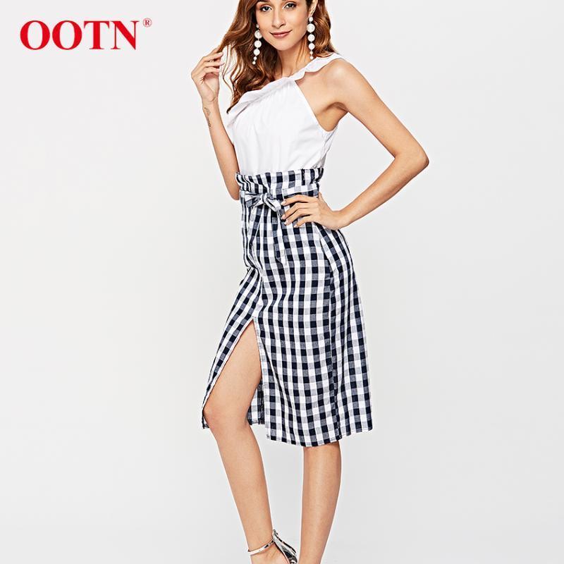 Faldas OOTN Plaid Midi hendidura lápiz alta cintura mujer azul blanco gingham arco corbata largo hembra 2021 otoño cremallera falda sexy