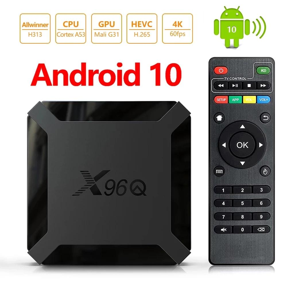 X96Q Android 10.0 TV Box 2GB + 16 Go Allwinner H313 Quad Core 4K 2.4G WIFI Smart Media Player PK TX3 H96 Max