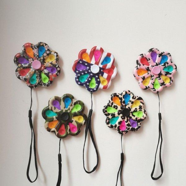 100 unids 2-8 Poppers de burbujas placa de flores sensorial inquieto de rinners juguete de girasol forma pulsar burbujas prensado placa de descompresión juguetes dedo puntero dedo