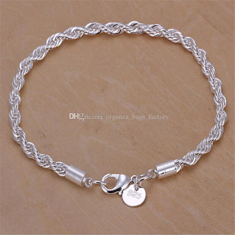 Stamped 925 Twist Chain Bracelete Jóias Banhado Moda De Ouro