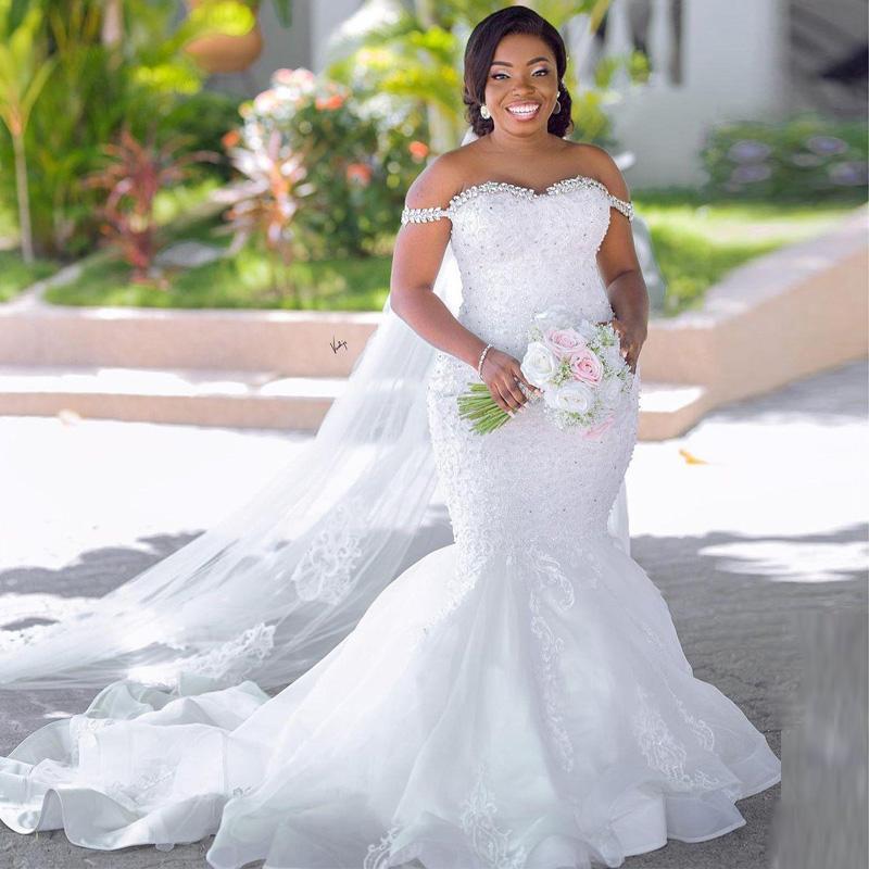 Plus Size Crystal Wedding Dresses Off the Shoulder Mermaid Bridal Gown 2021 Appliques Organza Country Frist Dance Vestido De Noiva