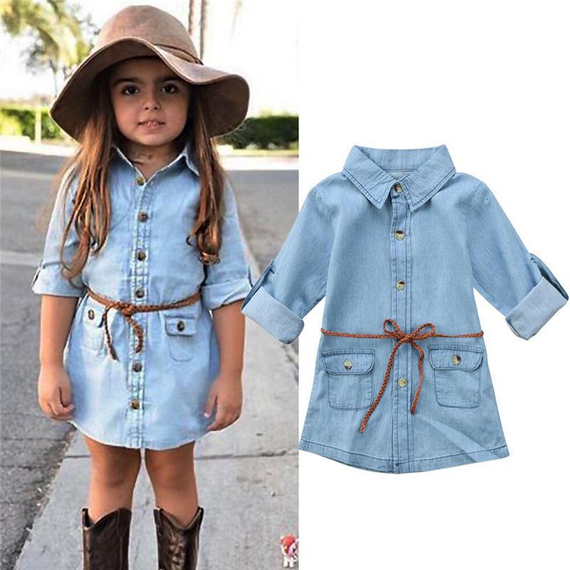 Dress Brand Baby Kids Girl Abbigliamento Denim Breve mini ES Jean Lange Mouwen Belt Retro Moda Casual Bambini Party Shirt