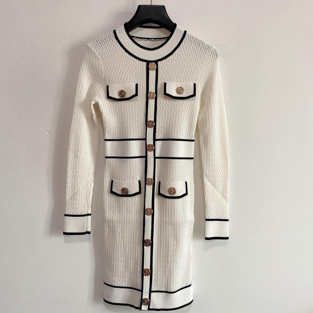 Milano pist elbiseler 2021 sonbahar o boyun uzun kollu baskı kadın tasarımcı elbise markası aynı stil elbise 0816-23