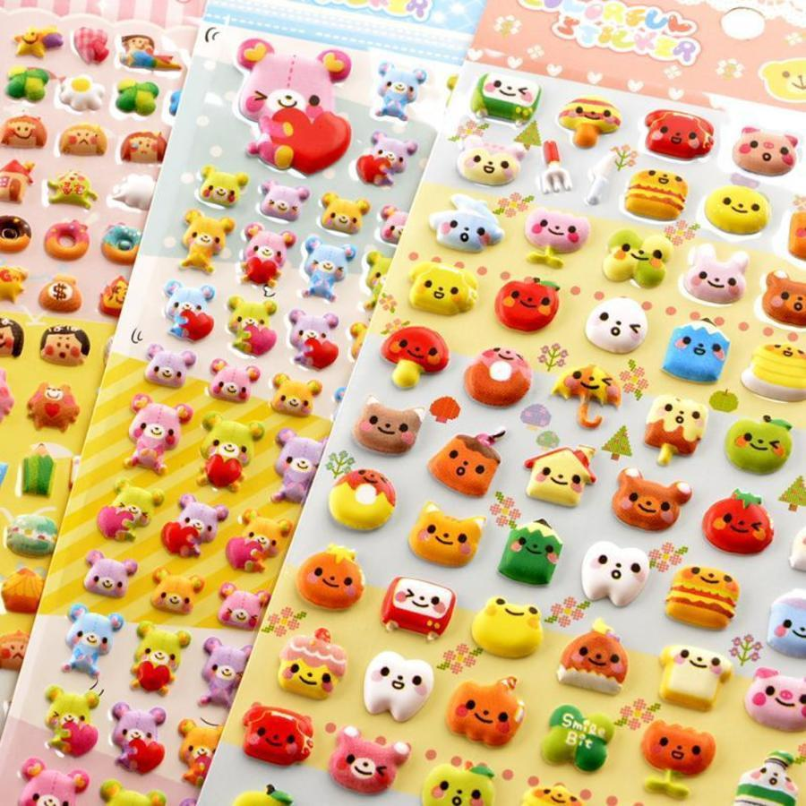 Children's Toys Cute Food Animals Three-dimensional 3d Bubble Stickers Boys and Girls Kindergarten Reward Small DAWT723