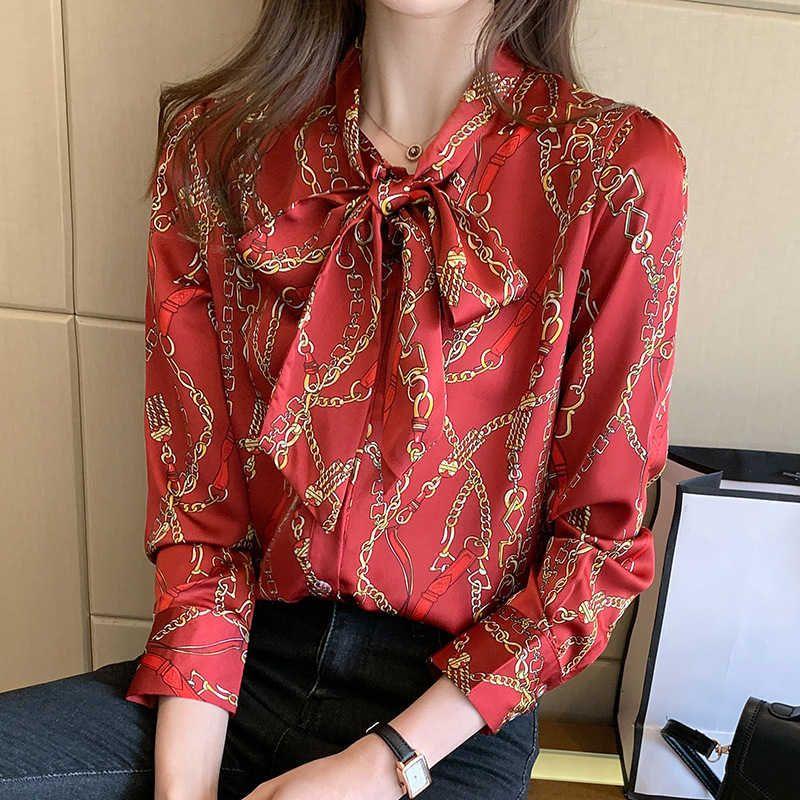 Camisa de color de lazo de lazo 2021 primavera de manga larga camisa de diseño de estilo extranjero Top versátil