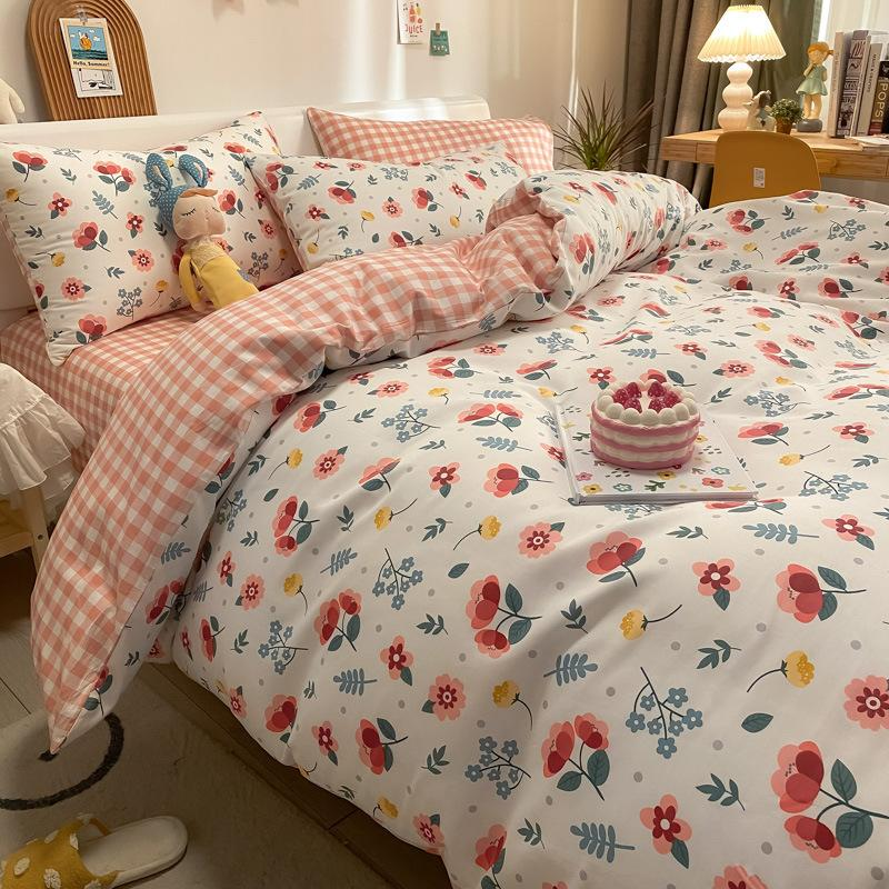 Spring 60s Household Bedding 4-piece Children's Cartoon Student Dormitory Sheet Quilt Cover Cotton