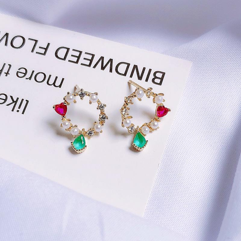 Stud S925 Sterling Silver Temperament Sweet Style Pearl Circle Green Zircon Earrings Love Rose Red