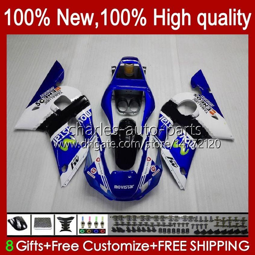 Bodys Yamaha Yzf-600 Yzf R6 R 6 600CC Yzfr6 1998 1999 00 01 02 Bodywork 1NO.20 YZF 600 CC COWLING YZF-R6 98-02 YZF600 98 99 2000 2001 2002 ABS 공정 키트 블루 화이트 BLK