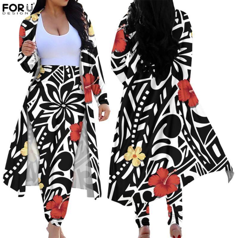 Ceket Kadınlar Samoan Polinezya Plumeria Çiçek Baskı Moda Ince Sıska Hırka Uzun Pantolon İki Adet Giyim Suit kadın Parça Pantolon