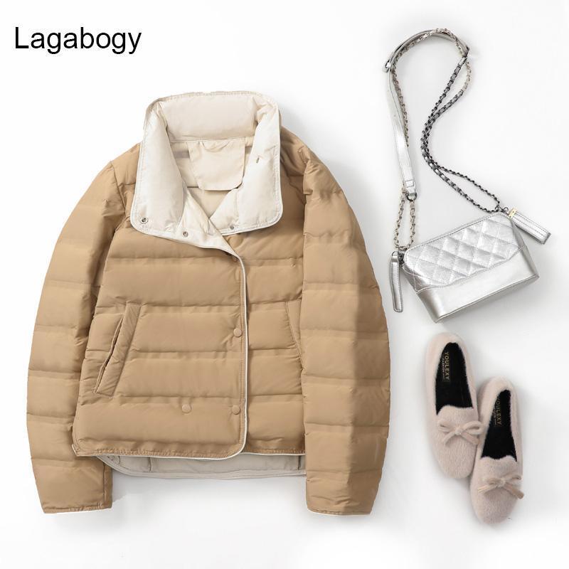 LagaBogy 2021 Hiver Ultra Light 90% Blanc Duck Manteau Femmes Short Slim Puffer Vestes Automne Femme Casual Khaki Parkas Femmes