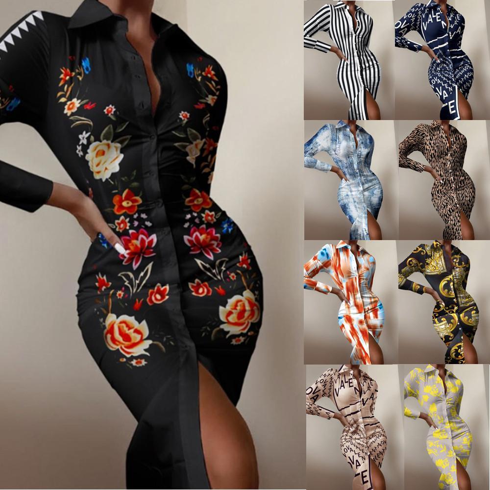 Casual Dresses Autumn 2021 Women Long Sleeve Mid Dress Fashion Print Shirts Elegant Ladies Splice Shirt Irregular Party
