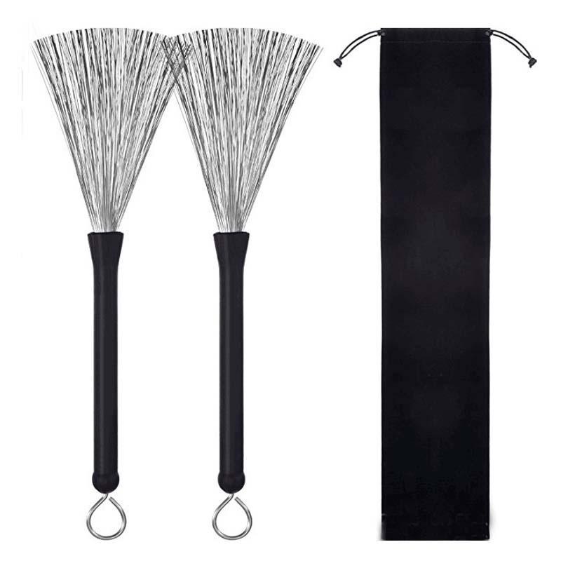 Wholesale Retractable Metal Black Drum Brush Kit 2pcs/set Drums Accessories & Parts Set Stick Bundle Wire Brushes