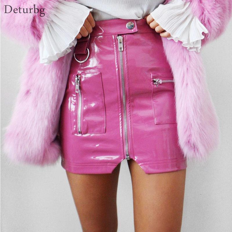 Vestidos casuales Mujeres sexy Faux de cuero Falda Falda femenina High Cintura Zipper Negro Blanco Pink Pink Splits Mini Faldas Saias Autumn Wint