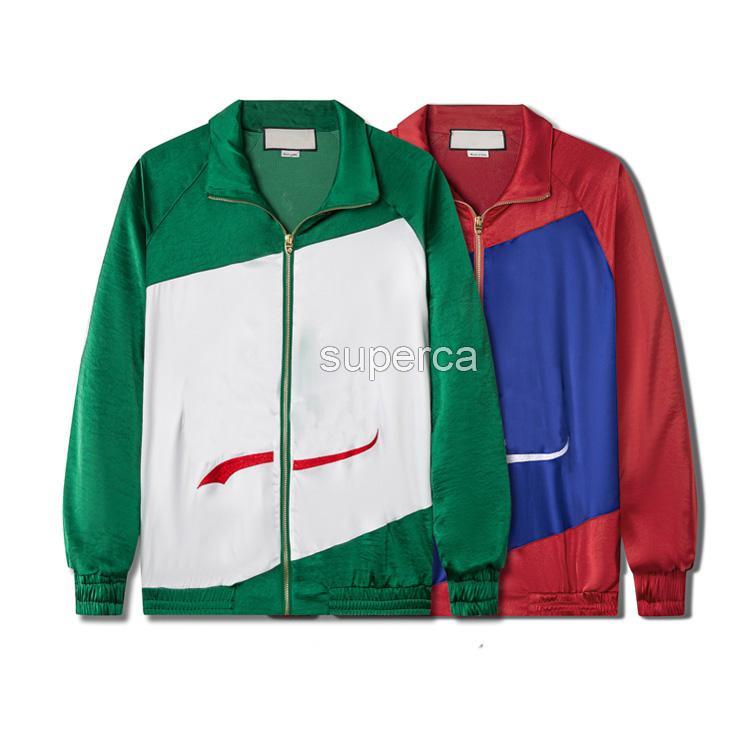 21ss Erkekler Tasarımcı Cep Lüks Hoodie Ceketler Moda Yeşil Kırmızı Kontrast Renk Patchwork Nakış Erkek Marka Ceket Rüzgarlık Coat Açık Streetwear GU254