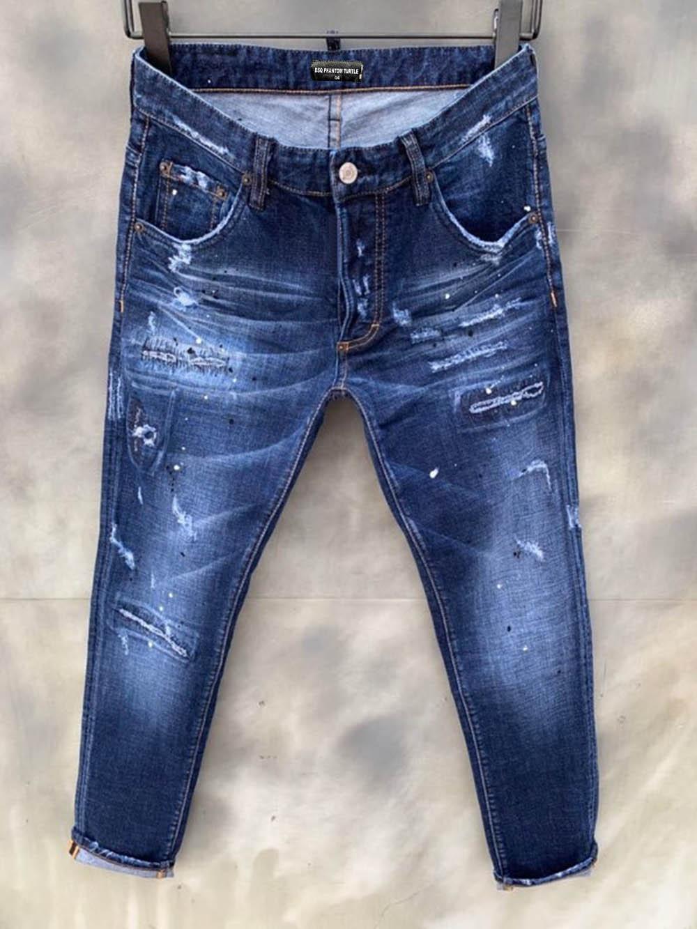 DSQUARED2 DSQUARED DSQ DSQ2 DsqDQ Jeans Mens de luxe Designer Jeans Skinny Ripple Cool Guy Causal Hole Denim Fashion Marque Fit Jeans Hommes lavés Pantalons 61296 Woz Gzi