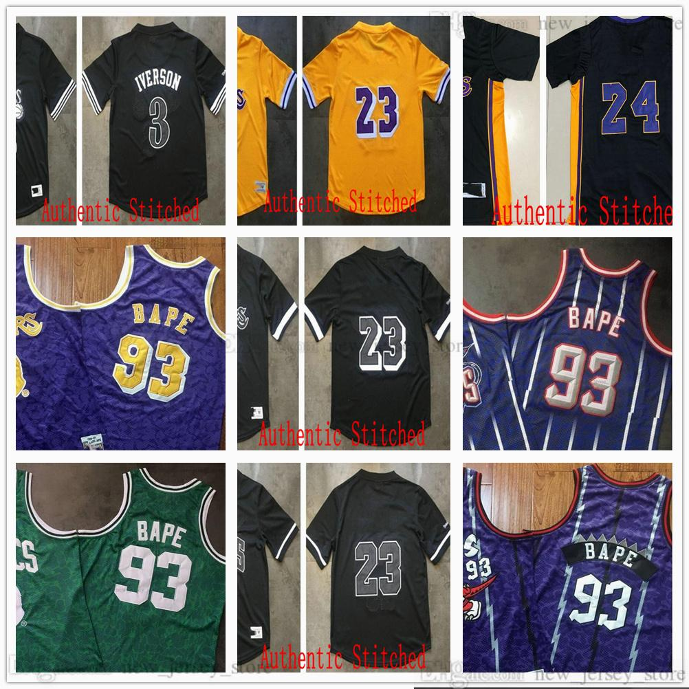 Auténtico Retro Retro Retro Manga corta Basketball Jerseys Mitchell Ness Vintage 3 Allen 23 James Iverson 93 BA PE Jersey