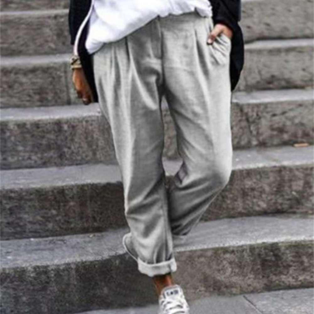 Abiti Solid Elastic Waist Casual Slose Pocket Pantaloni da donna