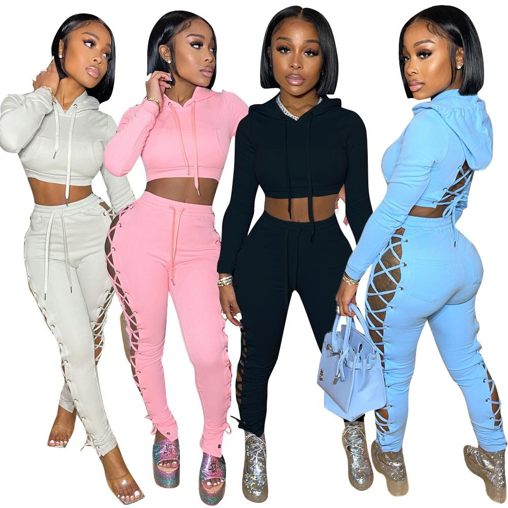 Womens 2 Two piece Tracksuits set solid color bandage hollow out sexy hoodies crop top slim sweatpants suit Fall sportswear casual Women plus size clothing